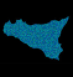 blue halftone sicilia map vector image