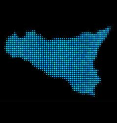 Blue halftone sicilia map vector