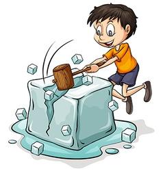 Boy breaking the icecube vector image