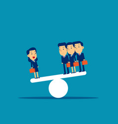 Business team on seesaw concept vector