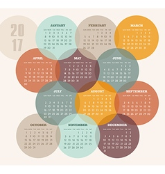 Calendar 2017 year with colored circle vector