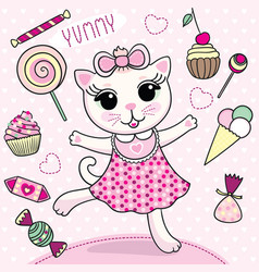 cartoon cute cat girl with vector image