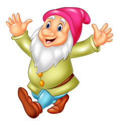 cartoon happy dwarf vector image