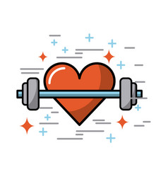 Cartoon heart with weights image vector