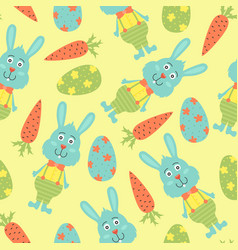 cartoon seamless pattern with easter eggs vector image
