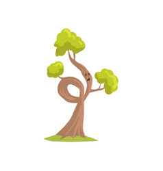 cartoon tree with sad face expression humanized vector image