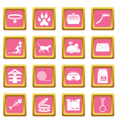 Cat care tools icons pink vector