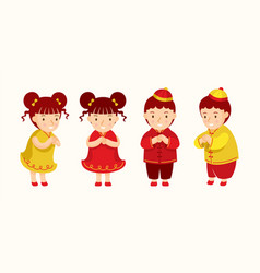 Chinese kids greeting or pay respect characters vector