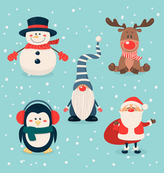 christmas cute characters and animals set vector image