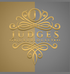 Classic luxurious letter j logo with embossed vector