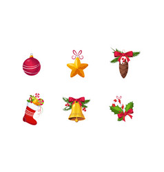 collection christmas decoration elements new vector image