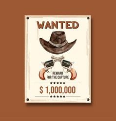 Cowboy poster design with hat and gun watercolor vector