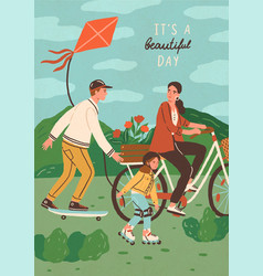 cute happy family riding bike skateboard and vector image