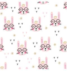 cute rabbits seamless pattern vector image