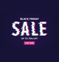 cyber monday sale poster with glitch style vector image