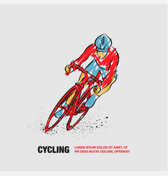 Cycling race outline cycling with scribble vector