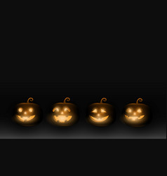dark cute halloween pumpkins isolated on black vector image