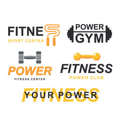 fitness gym logo signs collection vector image