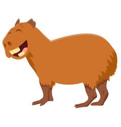 Funny capybara cartoon animal character vector