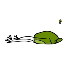 Funny frog sleeping sketch for your design vector