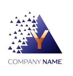 golden letter y logo symbol in blue pixel triangle vector image