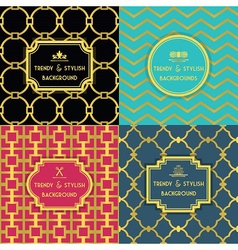 Golden trendy and stylish decoration patterns set vector