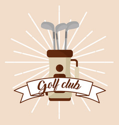golf club on bag banner card vector image