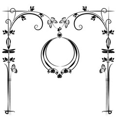 Graphic element frame and flowers 3 vector