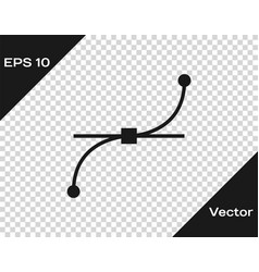 Grey bezier curve icon isolated on transparent vector