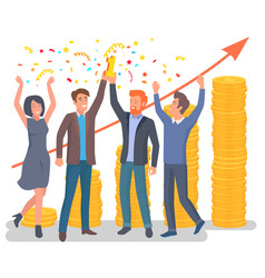 group people celebrating company success vector image