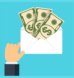 Hand hold envelope with money vector