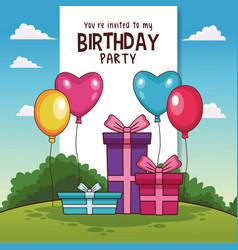 happy birthday card invitation vector image