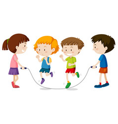 happy children playing jumprope vector image