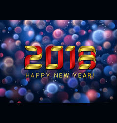 happy new year 2018 with blue and red blurred vector image