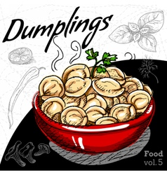 Hot Dumplings in red plate vector