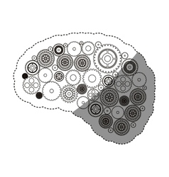 Isolated gears and brain design vector