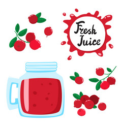 Juice with cranberries in a glass bank vector