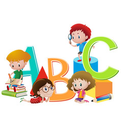 kids and english alphabets vector image