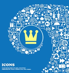 King Crown sign symbol Nice set of beautiful icons vector image