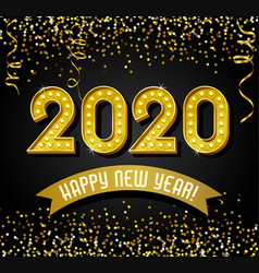 lighted 2020 happy new year design in gold vector image