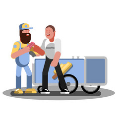 man buys ice crem in trolley vector image