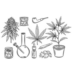 marijuana outline icons set vector image