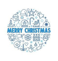 merry christmas round blue outline holiday vector image