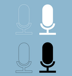 Microphone the black and white color icon vector