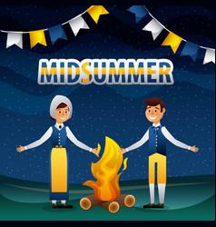 Midsummer swedish celebration vector