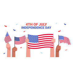 mix race human hands holding usa flags people vector image