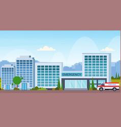 modern hospital building with ambulance car vector image