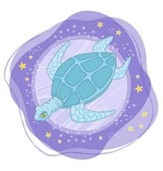 moon turtle cartoon space animal vector image