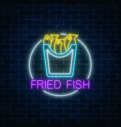 Neon glowing sign of fried fish in circle frame vector
