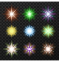 Nine colorful stars set vector